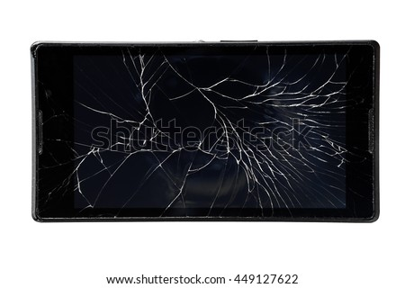 mobile phone with a broken screen on an isolated white background