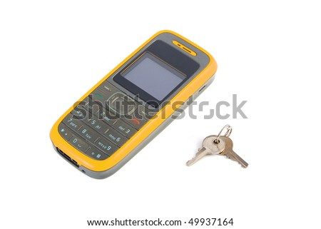 Mobile phone with a keys on a white background - stock photo