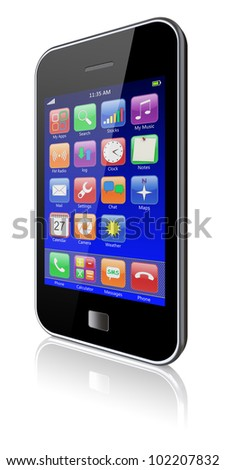Mobile phone with blue touchscreen and colorful apps . 3d image