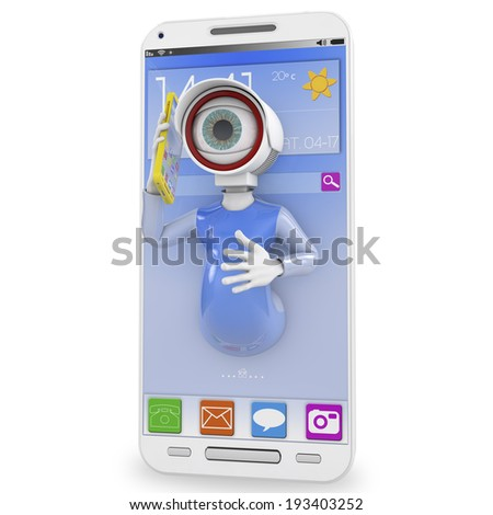 Mobile phone with CCTV camera - electronic devices as surveillance tools metaphor. 3D rendered. - stock photo