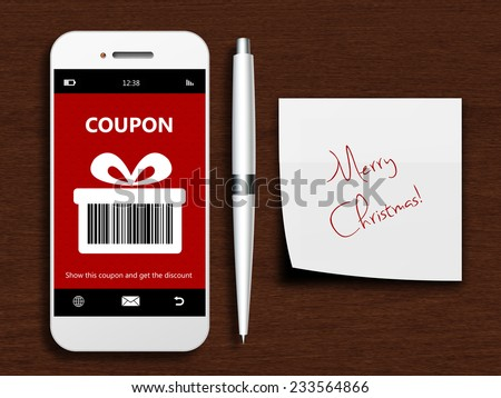 mobile phone with christmas coupon, pen and christmas wishes lying on wooden desk - stock photo