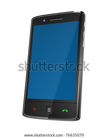 Mobile phone with clipping path - stock photo