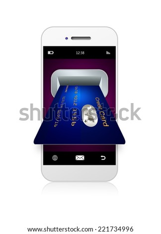 mobile phone with credit card isolated over white background