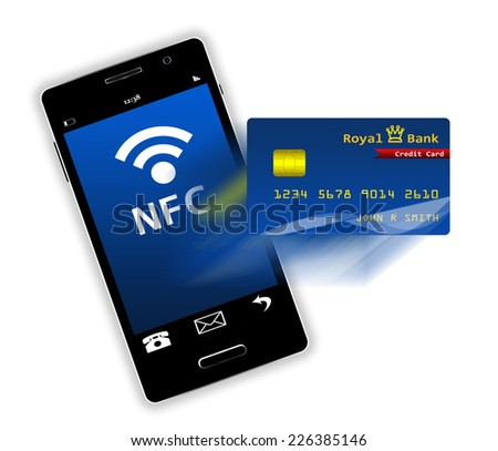 Mobile phone with credit card screen isolated - stock photo