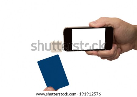 Mobile Phone With Credit/Debit Card Reader/Horizontal Shot/Isolated On White/ Making Transaction   - stock photo