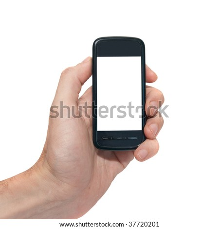 Mobile phone with empty screen isolated on white