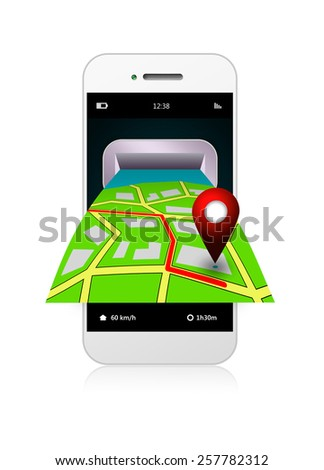 mobile phone with gps application and map isolated over white background
