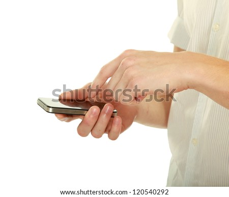 Mobile phone With hand, isolated on white background - stock photo