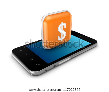 Mobile phone with icon of dollar.Isolated on white background.3d rendered.