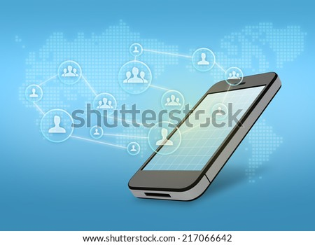 Mobile phone with icon of people on a background of the world map - stock photo