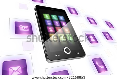 Mobile phone with icons on white  - Multimedia ison concept - stock photo