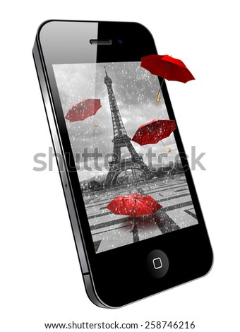 Mobile phone with image on the screen - Eiffel tower. Paris. - stock photo