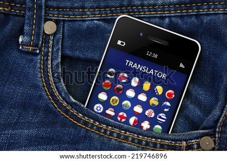 mobile phone with language translator application in jeans trousers pocket - stock photo