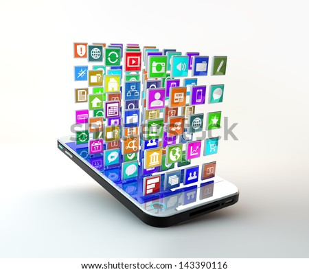 Mobile Phone with lots of apps icons flying around the display - stock photo