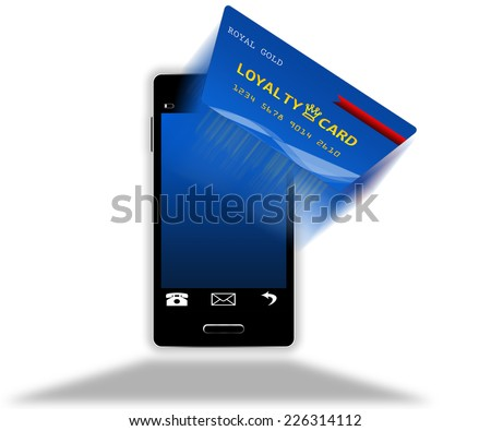 Mobile phone with loyalty card screen isolated - stock photo