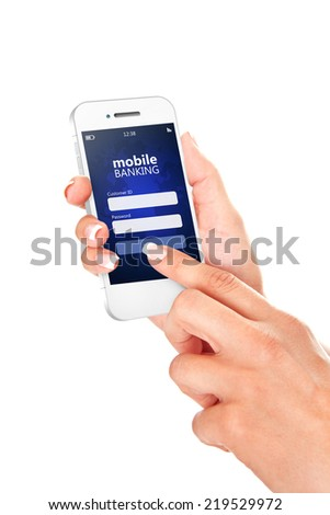 mobile phone with mobile banking log in page holded by hand isolated over white background - stock photo
