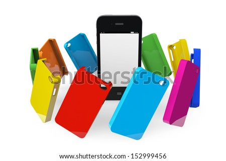 Mobile Phone with MultiColor plastic cases on a white background - stock photo