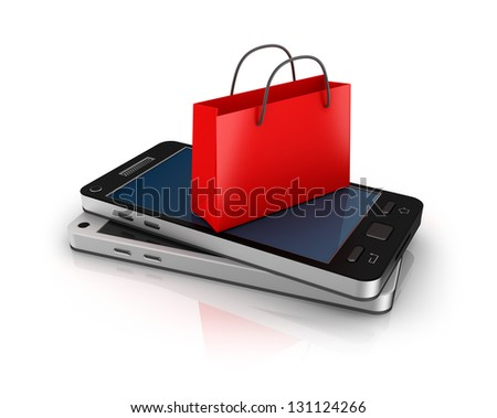 Mobile phone with shopping bag. Online shopping concept. - stock photo