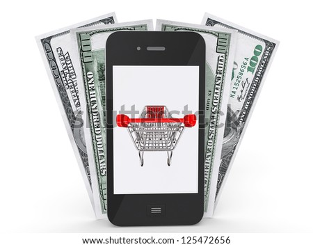 Mobile Phone with shopping cart on a screen and money on a white background - stock photo