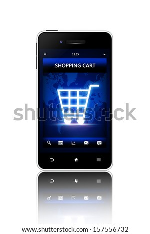 mobile phone with shopping cart screen isolated over white background