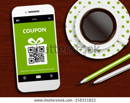 mobile phone with spring discount coupon, coffee and office tools - stock photo