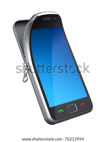 Mobile phone with zipper - stock photo