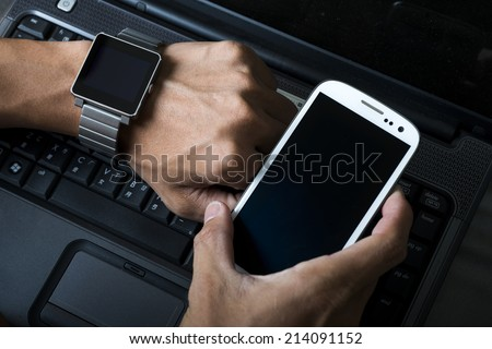 Mobile phones and smart watch - stock photo