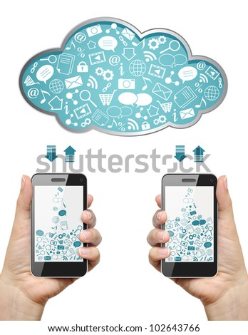 Mobile phones in female hands download information from cloud isolated on white. Cloud computing concept. - stock photo