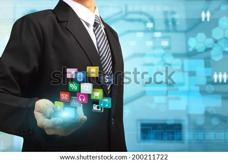 Mobile phones technology business idea concept, Business man using mobile smart phone creative modern networking colorful application icons information process diagram - stock photo