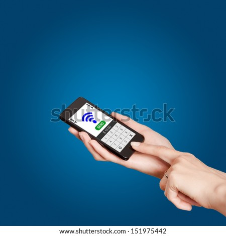 Mobile phones with NFC payment technology. Near field communication - stock photo
