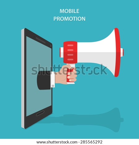 Mobile Promotion Flat Isometric Concept. Mans Hand With Megaphone Appeared From Smartphone or Tablet. - stock photo