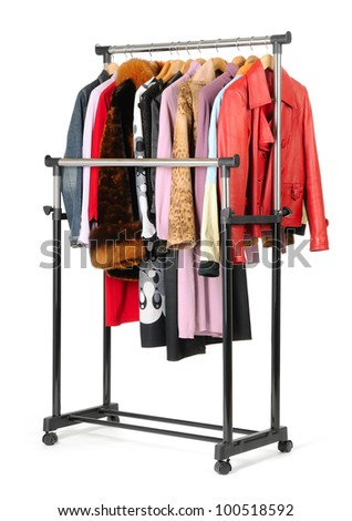 Mobile rack with clothes on white background - stock photo