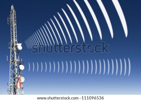 mobile radio antenna with symbolic radiation - stock photo