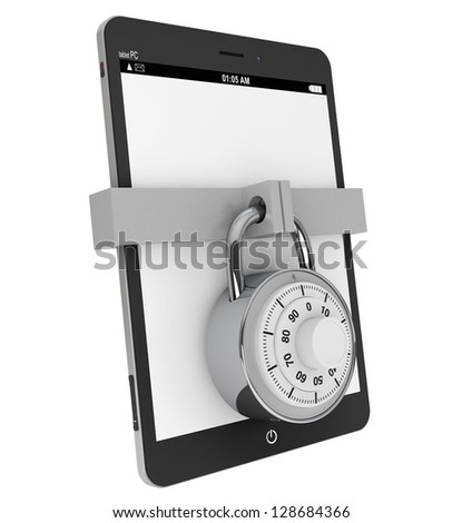 Mobile Security concept. Tablet PC with Lock on a white background - stock photo