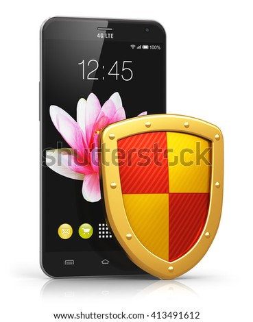 Mobile security, personal data privacy and antivirus protection concept: 3D render illustration of modern black glossy touchscreen smartphone covered by metal protection shield isolated on white - stock photo