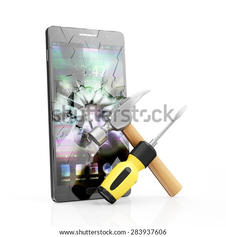 Mobile Service and Repair Concept. Modern Black Touchscreen Smart Phone with Broken Screen and Repair Symbol: Screwdriver with a Claw Hammer isolated on white background - stock photo