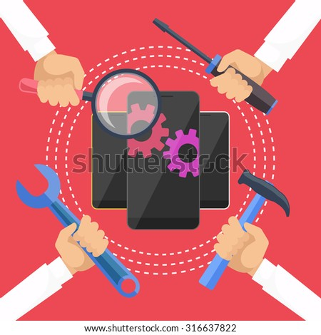Mobile service concept. Smarthone with tools. Repair smart phone electronic. Hands with tools for repair phone. Flat icon modern design style concept. Diagnosis phones. Raster version  - stock photo