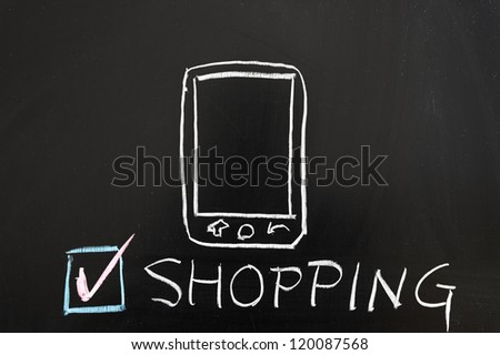 Mobile shopping concept drawing on the blackboard