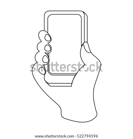 Mobile shopping online icon in outline style isolated on white background. E-commerce symbol stock bitmap illustration.