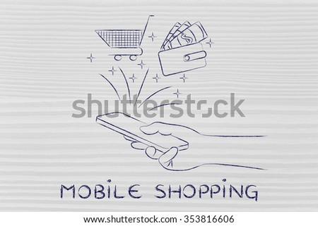 mobile shopping: smartphone with cart and wallet coming out of the screen