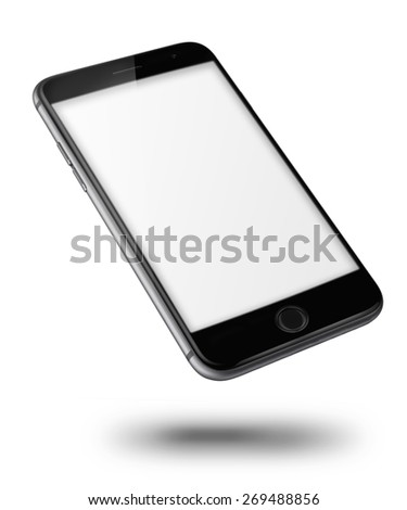 Mobile smart phone iphon style mockup with blank screen isolated on white background. Highly detailed illustration. - stock photo