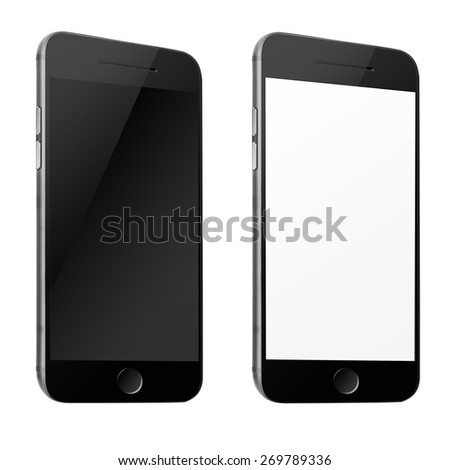 Mobile smart phone iphon style mockup with white and blank screen isolated on white background. Highly detailed illustration. - stock photo