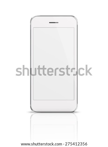 Mobile smart phone iphon style mockup with white blank screen isolated on white background. Highly detailed illustration. - stock photo