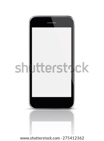 Mobile smart phone iphon style mockup with white blank screen isolated on white background. Highly detailed illustration.