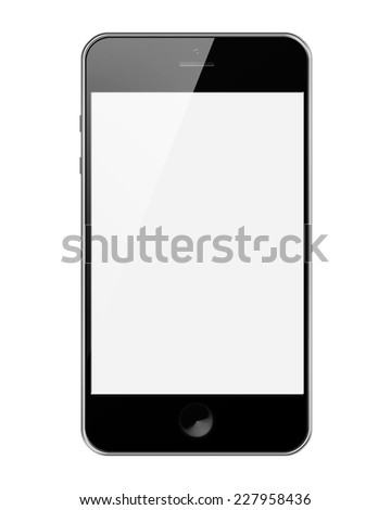Mobile Smart Phone with Blank Screen Isolated on White Background. Highly Detailed Illustration. - stock photo