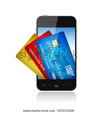 Mobile smart phone with bunch of credit card on a screen. Electronic payments concept image. - stock photo