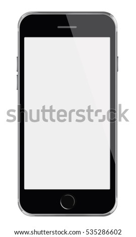 Mobile smart phone with white screen isolated on white background. 3D illustration.