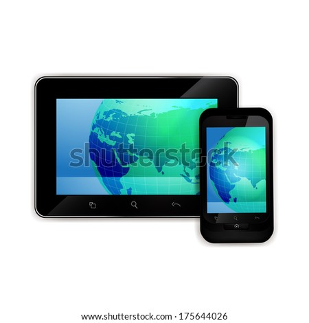Mobile smart phone with world map
