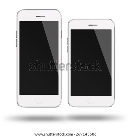 Mobile smart phones iphon style mockup with black screen isolated on white background. Highly detailed illustration. - stock photo