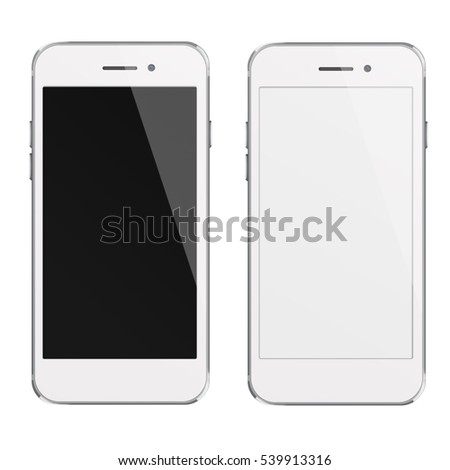Mobile smart phones with white and blank screen isolated on white background. 3D illustration.